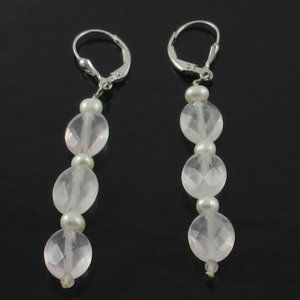 Pearl & Rose Quartz Sterling Dangle Earrings